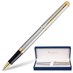 Ручка-роллер WATERMAN «Hemisphere Steel GT», корпус серебристый, латунь, позолоченные детали, черная, S0920350