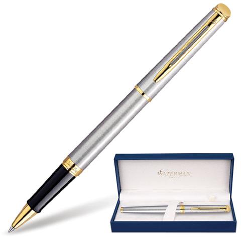 Ручка-роллер WATERMAN «Hemisphere Steel GT», корпус серебристый, латунь, позолоченные детали, S0920350, черная