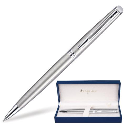 """Ручка шариковая WATERMAN """"Hemisphere Steel CT"""", корпус серебристый, нержавеющая сталь, палладиевое покрытие, синяя, S0920470"""