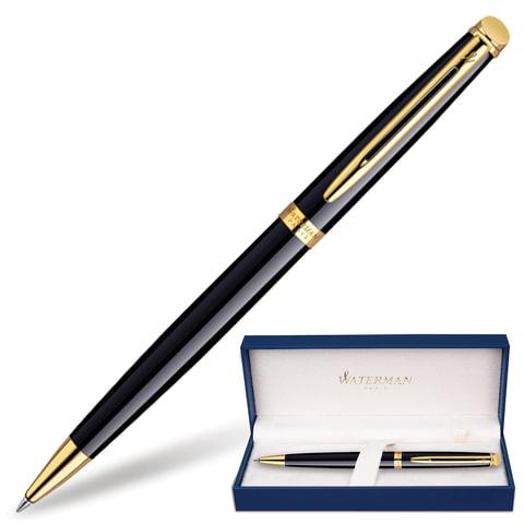 """Ручка шариковая WATERMAN """"Hemisphere Mars GT"""", корпус черный, нержавеющая сталь, позолоченные детали, черная, S0920670"""