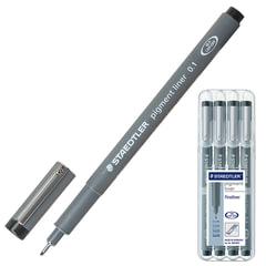 Ручки капиллярные STAEDTLER (Германия), набор 4 шт., толщина письма 0,1/<wbr/>0,3/<wbr/>0,5/<wbr/>0,7 мм, черные