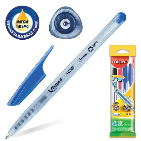 """Ручки шариковые масляные MAPED (Франция), набор 4 шт., """"Green Ice"""", корпус прозрачный, 0,6 мм (2 синие, черная, красная)"""