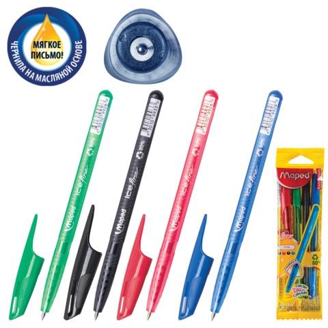 Ручки шариковые масляные MAPED (Франция), набор 4 шт., «Green Ice Fine», 0,4 мм (синяя, черная, красная, зеленая)