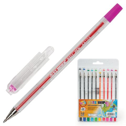 Ручки шариковые BEIFA (Бэйфа), набор 10 шт., «WMZ», корпус прозрачный, 1 мм, европодвес, цвет ассорти