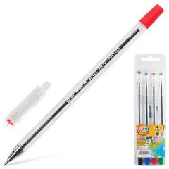 Ручки шариковые BEIFA (Бэйфа), набор 4 шт., «WMZ», узел 0,9 мм, линия 0,7 мм (черная, синяя, красная, зеленая)