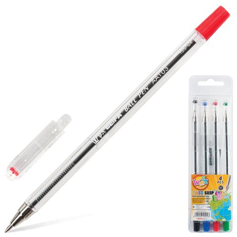 Ручки шариковые BEIFA (Бэйфа), набор 4 шт., «WMZ», корпус прозрачный, 0,7 мм, европодвес (черная, синяя, красная, зеленая)