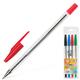 Ручки шариковые BEIFA (Бэйфа), набор 4 шт., «WMZ», корпус прозрачный, цветные детали, 0,5 мм (синяя, черная, красная, зеленая)