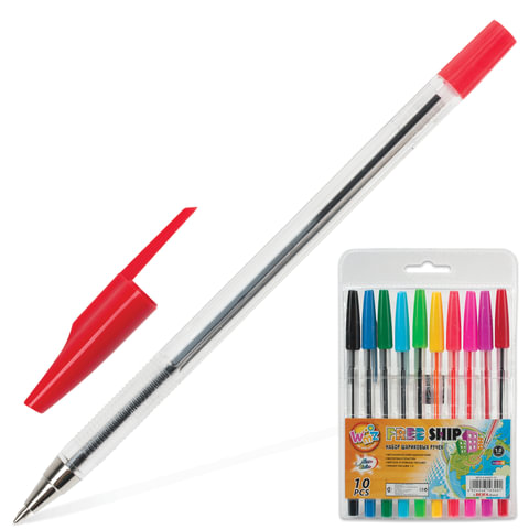 """Ручки шариковые BEIFA (Бэйфа), набор 10 шт., """"WMZ"""", узел 1,2 мм, линия 1 мм, ассорти"""