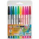 Ручки шариковые BEIFA (Бэйфа), набор 10 шт., «WMZ», корпус прозрачный, цветные детали, 0,5 мм, европодвес, цвет ассорти