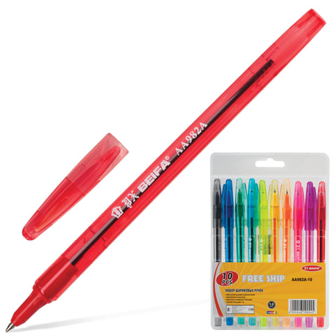 Ручки шариковые BEIFA (Бэйфа), набор 10 шт., корпус ассорти, 1 мм, европодвес, цвет ассорти