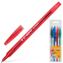 Ручки шариковые BEIFA (Бэйфа), набор 4 шт., корпус цветной, узел 0,9 мм, линия 0,7 мм, (синяя, черная, красная, зеленая)