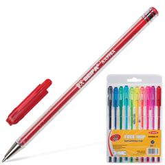 Ручки шариковые BEIFA (Бэйфа), набор 10 шт., корпус с блестками, узел 1,2 мм, линия 1 мм, ассорти