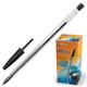 Ручка шариковая BEIFA (Бэйфа), корпус прозрачный, пластиковый наконечник, 1 мм, черная