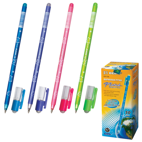 Ручка шариковая BEIFA (Бэйфа), корпус ассорти, пластиковый наконечник, толщина письма 0,7 мм, синяя