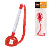 Ручка шариковая настольная BEIFA (Бэйфа) «СТОППЕН», на липучке, корпус прозрачный/<wbr/>красный, 0,7 мм, синяя