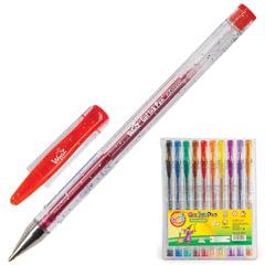Ручки гелевые BEIFA (Бэйфа), набор 10 шт., «WMZ», с блестками, узел 0,9 мм, линия 0,7 мм, ассорти