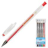 Ручки гелевые BEIFA (Бэйфа), набор 4 шт., корпус прозрачный, цветные детали, металлический наконечник, 0,5 мм, подвес, ассорти