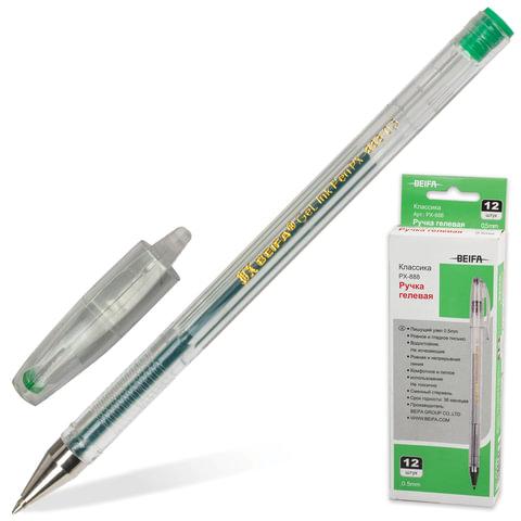 Ручка гелевая BEIFA (Бэйфа), корпус прозрачный, металлический наконечник, толщина письма 0,5 мм, зеленая