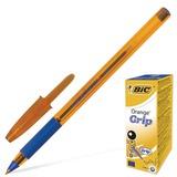 Ручка шариковая BIC «Orange Grip» (Франция), корпус оранжевый, синие детали, резиновый держатель, 0,3 мм, синяя
