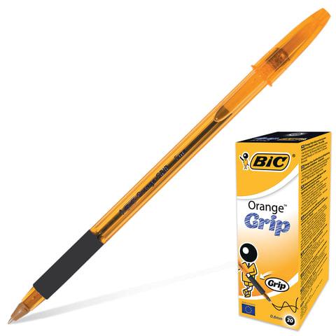 """Ручка шариковая BIC """"Orange Grip"""" (Франция), корпус оранжевый, черные детали, резиновый держатель, 0,3 мм, черная"""