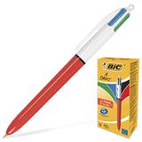 Ручка шариковая BIC автоматическая «4 Colours» (Франция), 4 цвета, корпус красный, 0,3 мм, синий, черный, красный, зеленый