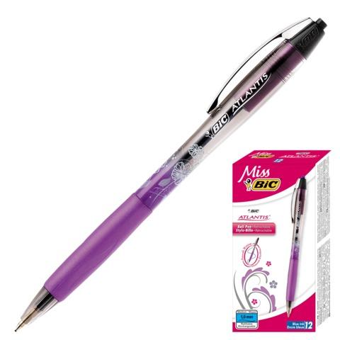 Ручка шариковая BiC автоматическая «Miss Bic Atlantis» (Франция), корпус двухцветный, резиновый держатель, 0,4 мм, синяя