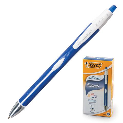 Ручка шариковая BIC автоматическая «Atlantis Exact» (Франция), корпус сине-белый, толщина письма 0,3 мм, синяя
