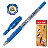 Ручка шариковая масляная ERICH KRAUSE «Grapho», резиновый грип, корпус тонированный синий, 0,5 мм, синяя
