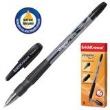 Ручка шариковая масляная ERICH KRAUSE «Grapho», резиновый грип, корпус тонированный синий, 0,5 мм, черная