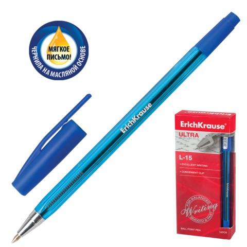 Ручка шариковая масляная ERICH KRAUSE «Ultra L-15», корпус тонированный, толщина письма 0,7 мм, синяя