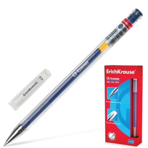 Ручка гелевая ERICH KRAUSE «G-BASE», толщина письма 0,5 мм, синяя