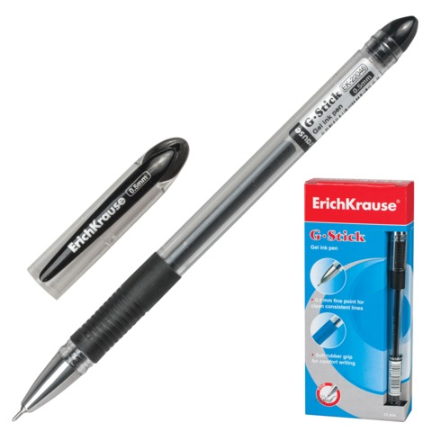 """Ручка гелевая ERICH KRAUSE """"G-STICK"""", с резиновым упором, толщина письма 0,5 мм, черная"""