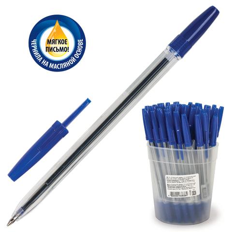 Ручка шариковая масляная СТАММ «Optima», корпус прозрачный, 0,7 мм, синяя