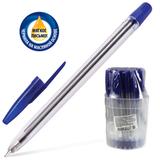 Ручка шариковая масляная СТАММ «111», корпус прозрачный, 1 мм, синяя