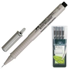 Ручки капиллярные FABER-CASTELL, набор 4 шт., «Ecco Pigment», линия 0,1/<wbr/>0,3/<wbr/>0,5/<wbr/>0,7 мм, черные