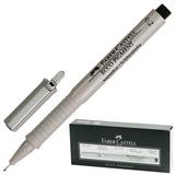 Ручка капиллярная FABER-CASTELL «Ecco Pigment», толщина письма 0,2 мм, корпус серый, черная