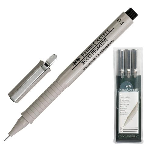 Ручки капиллярные FABER-CASTELL «Ecco Pigment», набор 3 шт., 0,4; 0,6; 0,8 мм, пластиковая упаковка, черные