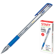 Ручка гелевая STAFF эконом, корпус прозрачный, резиновый держатель, синяя