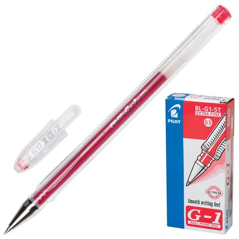 """Ручка гелевая PILOT """"G-1"""", корпус прозрачный, узел 0,5 мм, линия 0,3 мм, красная"""