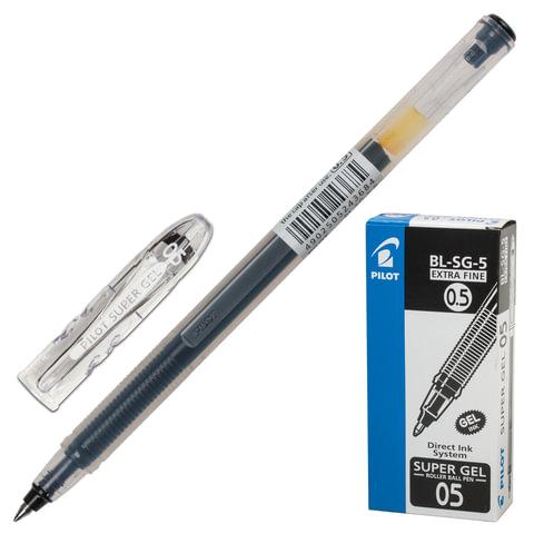 Ручка гелевая PILOT BL-SG-5 «Super Gel», корпус прозрачный, толщина письма 0,3 мм, черная