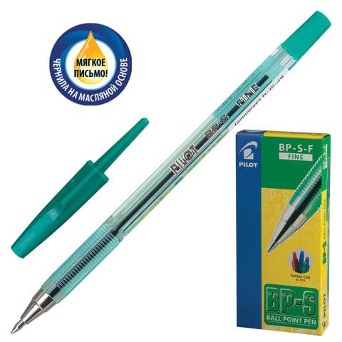 """Ручка шариковая масляная PILOT """"BP-S"""", корпус тонированный зеленый, узел 0,7 мм, линия 0,32 мм, зеленая"""