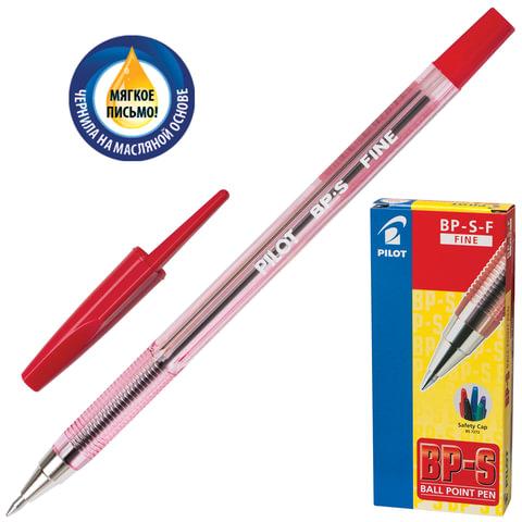 """Ручка шариковая масляная PILOT """"BP-S"""", корпус тонированный красный, узел 0,7 мм, линия 0,32 мм, красная"""