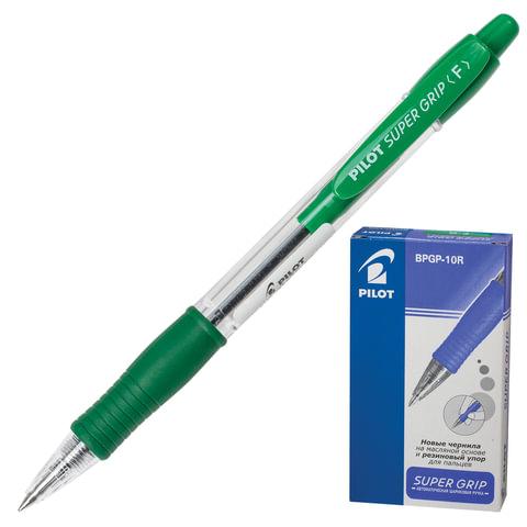 Ручка шариковая масляная PILOT автоматическая, BPGP-10R-F «Super Grip», корпус зеленый, резиновый упор, 0,32 мм, зеленая