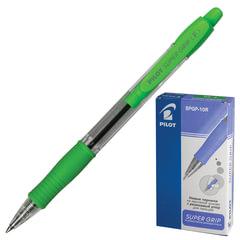 Ручка шариковая масляная автоматическая PILOT «Super Grip», салатовые детали, узел 0,7 мм, линия 0,32 мм, синяя