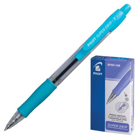 Ручка шариковая масляная PILOT автоматическая, BPGP-10R-F «Super Grip», корпус голубой, резиновый упор, 0,32 мм, синяя