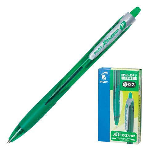 Ручка шариковая масляная PILOT автоматическая, BPRG-10R-F «Rex Grip», корпус зеленый, резиновый упор, 0,32 мм, зеленая