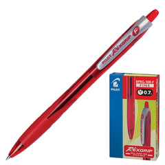 Ручка шариковая масляная автоматическая PILOT «Rex Grip», узел 0,7 мм, линия 0,32 мм, резиновый упор, красная