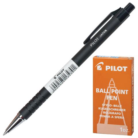 Ручка шариковая масляная PILOT автоматическая, BPRK-10M, корпус черный, прорезиненный, толщина письма 0,32 мм, синяя