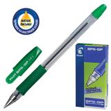 Ручка шариковая масляная PILOT BPS-GP-F, корпус зеленый, с резиновым упором, 0,32 мм, зеленая