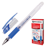 Ручка «Пиши-стирай» гелевая BRAUBERG «Number 1», толщина письма 0,5 мм, резиновый держатель, синяя